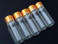 20 Pcs Glass Bottles Aluminium Screw Golden Cap Empty Transparent Clear Liquid Gift Container Wishing Bottle Jars DC 27mm 30ml
