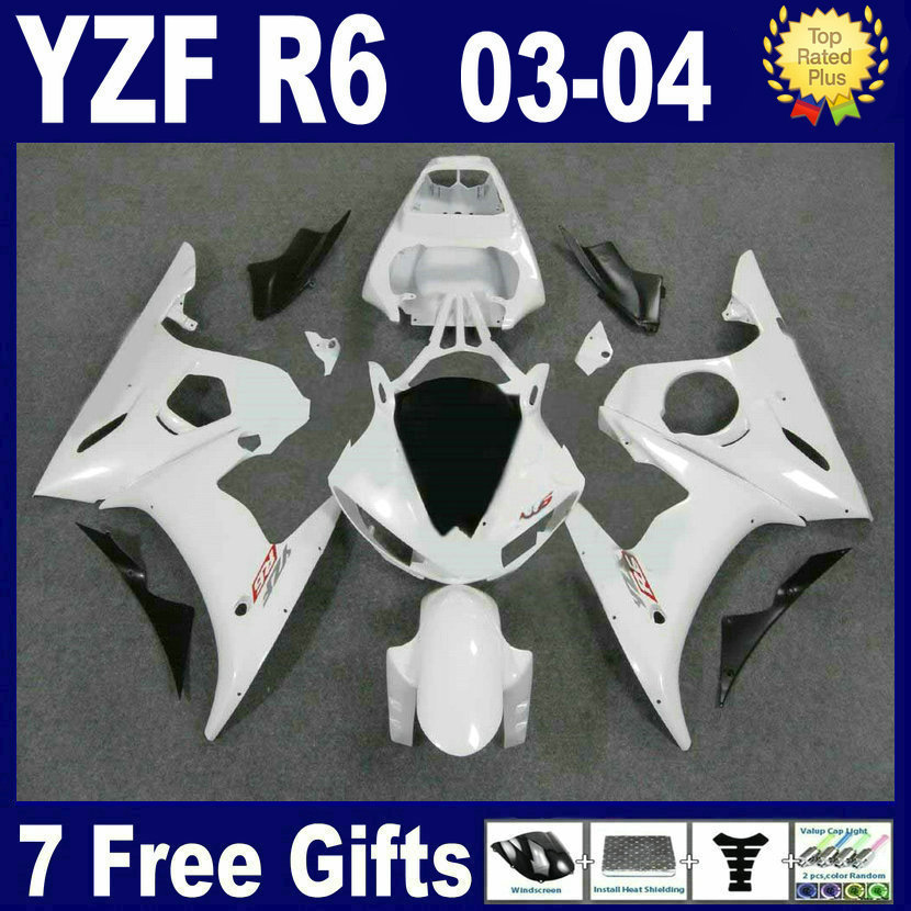 Custom Professional Road race fairing kits For Yamaha YZF R6 2003 2004 2005 full white plastics 04 03 YZFR6  motorcycle fairings