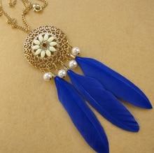 цена на 2016 Fashion Long Feather Tassel Necklace for Women Jewelry Bead Rhinestone Resin Gem Flower Necklaces & Pendants
