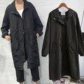 Горячая стиль мода беременных Британские дамы долго ветровка весной и осенью мода свободные капюшоном черный ветрозащитный куртка прилив N