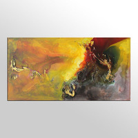 Handmade Thick Knife High Quality Modern Abstract Fine Artwork Canvas Decor Gold Caramel Color Oil Painting