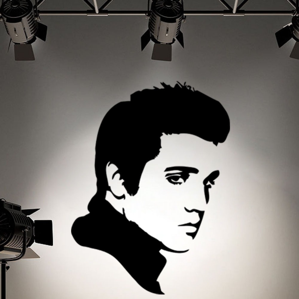 Rock roll elvis presley face wall art decoration vinyl sticker for kud boy room wall decals size 5270cm 40 colors in wall stickers from home garden on