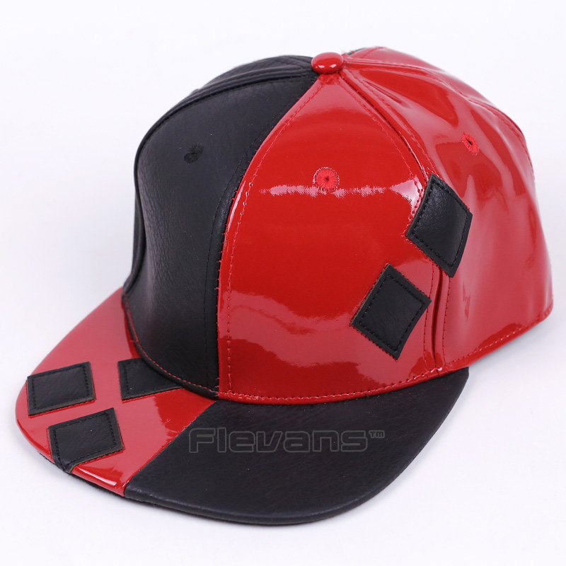 Suicide Squad Harley Quinn Cosplay Hat Hip-hop Fashion Men Women Baseball Cap Cool Fashion PU Leather Snapback Caps аксессуары для косплея cos crystal shoes harley quinn cosplay