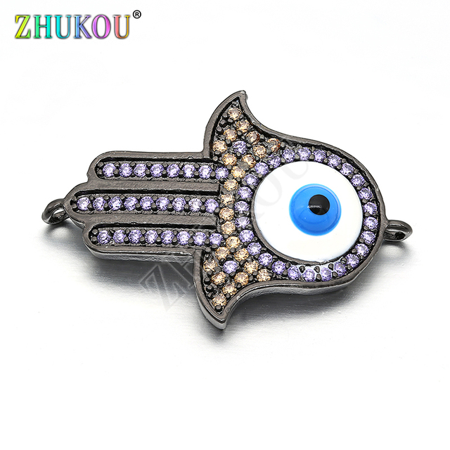 22*33.5mm Brass Cubic Zirconia Hamsa Hand with Evil Eyes Pendants Connector DIY Jewelry Findings, Hole: 1.5mm,  Model: VS198