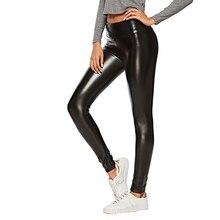 Simili-cuir noir pantalons pu Femmes Taille Haute Pantalon Modes Tregging  Stretch Slim pantalon moulant grande taille L XL XXL 3. 7ea1428492d