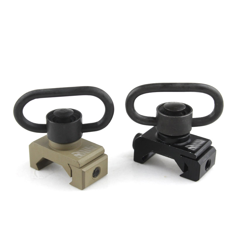 Quick Release Detach Push Button Sling Swivel Adapter Set Picatinny Rail Mount Base 20mm Connecting Sling Ring free shipping universal steel sling mount adapter black