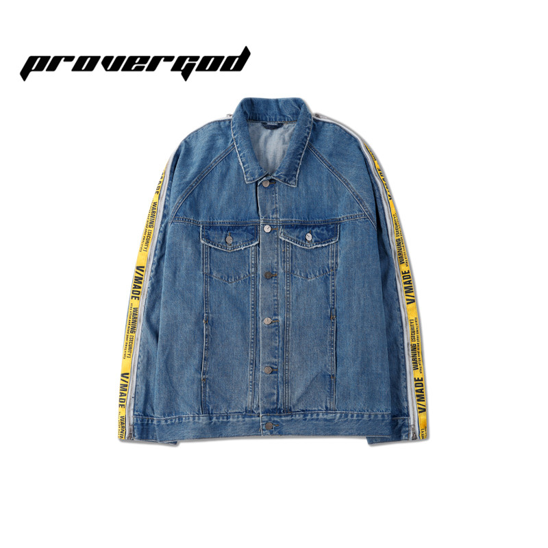 PROVERGOD High Street Destroy Denim Coats Hip Hop Mens Yellow Stripe Patchwork Bomber Jackets Male Street Wear Cool Clothes