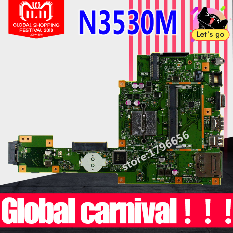 X553MA For ASUS X553MA x503m f553ma f553m Laptop motherboard X553MA mainboard REV2.0 N3530 work 100%