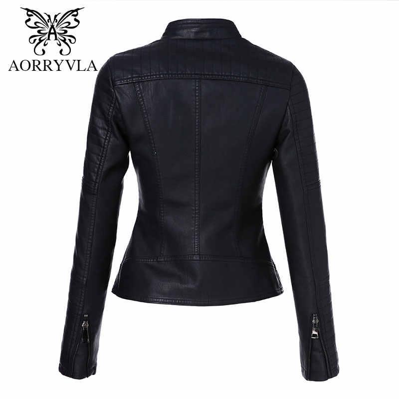 AORRYVLA 2018 New Outono Mulheres Couros Marcas Lavado PU de Couro Da Motocicleta Curto Comprimento Zipper Motocicleta Senhoras Jaqueta Básica