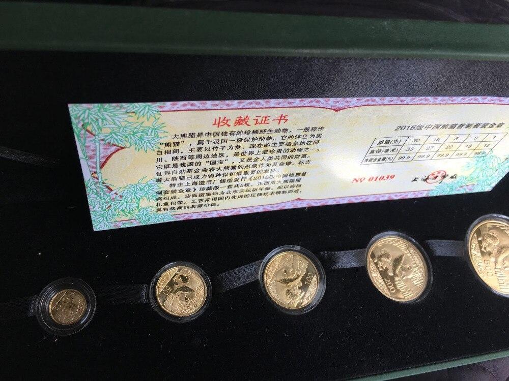 5 pièces 2016 chinois lunaire nouvel an panda plaque or costume 5 or Panda pièce avec boîte et certificat cadeau cadeau collection artisanat