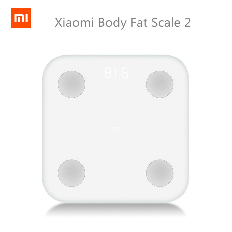 imágenes para Nueva Original Xiaomi mi Inteligente Escala 2 Mifit APP y Composición Corporal Monitor de Grasa Corporal BMR Prueba Hidden Led Y Pad Pies Grandes