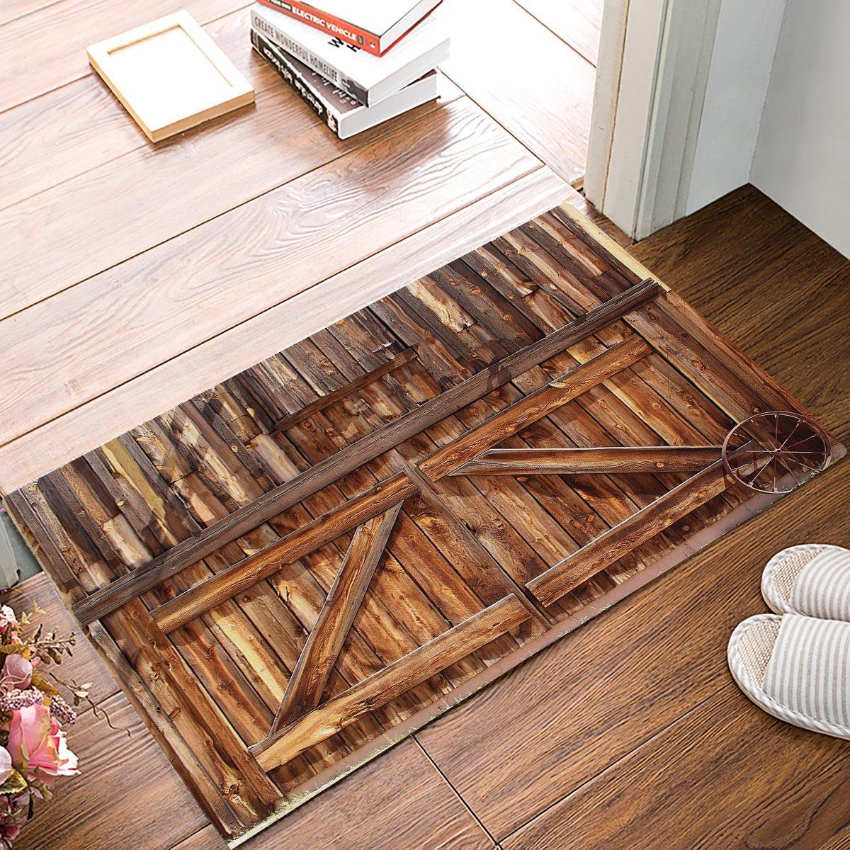 Country Rustic Old Barn Wood Brown Door Mats Kitchen Floor