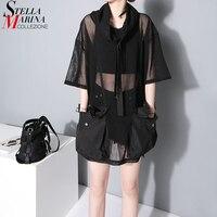 Women New 2016 Fashion Summer Tops Hooded Neck Half Sleeve Mesh Pockets Lady Black Tee Shirt