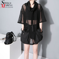 Women New 2016 Fashion Summer Tops Hooded Neck Half Sleeve Mesh Pockets Lady Black Tee Shirt