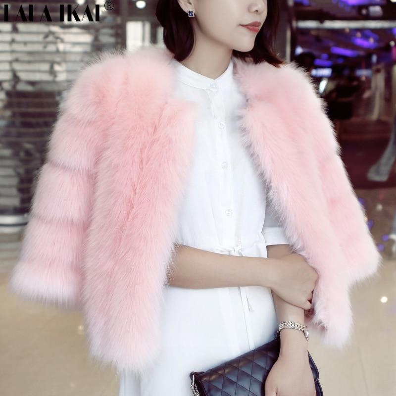 Chic Pink Fox Fur Jackets Coats Women Short Faux Fur Coat Autumn Winter  Outerwear Thicken Warm