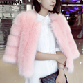 Chic Pink Fox Fur Jackets Coats Women Short Faux Fur Coat Autumn Winter Outerwear Thicken Warm Padded Fur Jacket Coats SWQ0203