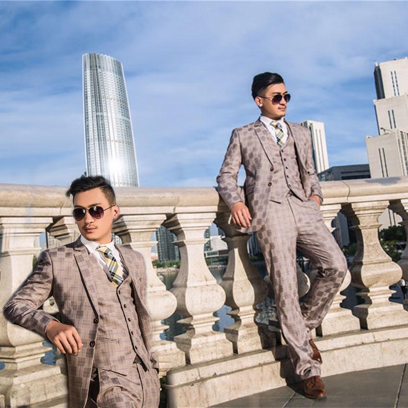 Casual Noir Nouveaux Trois pièce Mince Mode Manteau 2 Pantalon veste D'affaires Printemps Vêtements 3 1 Gilet Costume 4 De Photo Plaid Hommes xOwSgwq