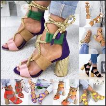 Women Sandals Shoes Summer Celebrity Wearing Mixed Colors Strappy Sandals Pointed Fish Mouth Gladiator High Heels Shoes Female