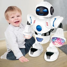 Rotating Smart Space Dance Robot Electronic Walking Toys with Music Light Kids A