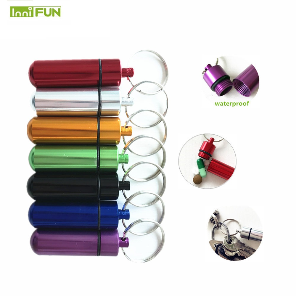 1PC Waterproof Aluminum Pill Box Case Bottle Cache Drug Holder Container Keychain Medicine Box Health Care