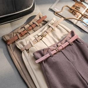 Image 5 - Korean Winter Wool Pants women New High Slim Waist Belted Harem Elegant Trousers Female Autumn Warm Womens Long Pants F201