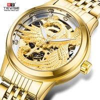 2018 Tevise New Women's Fashion Luxury Diamond Mechanical Watch Ladies Gold Watch Dress Automatic Clock Relojes Mujer Best Gift