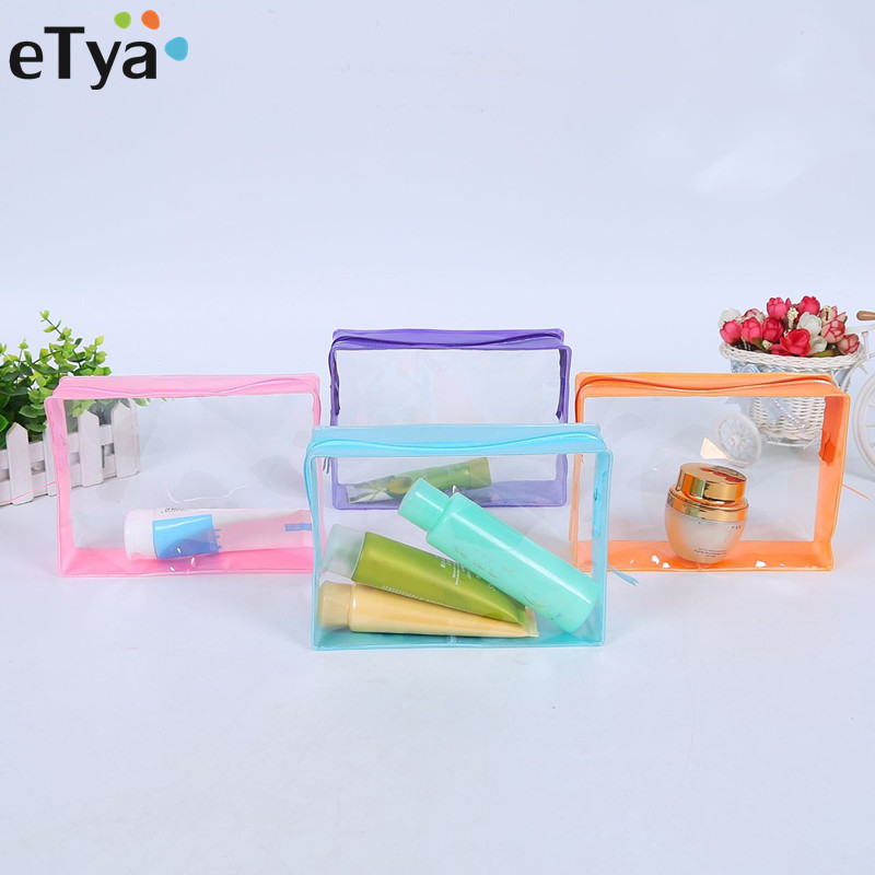 ETya Fashion PVC Travel Cosmetic Bag Women Transparent Waterproof  Beauty Neceser Toiletry Bath Wash Make Up Bag Case Organizer
