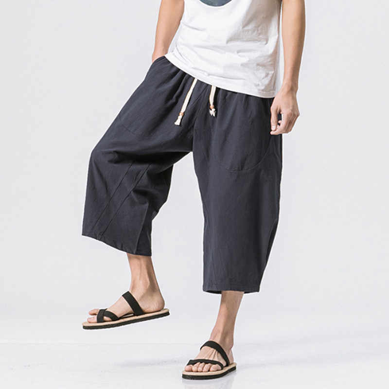 7d24a0b9c6a 2018 New Japanese Samurai Boho Boggy Drop Crotch Loose Harem Pants Baggy  Hakama Cotton Linen Sweatpants