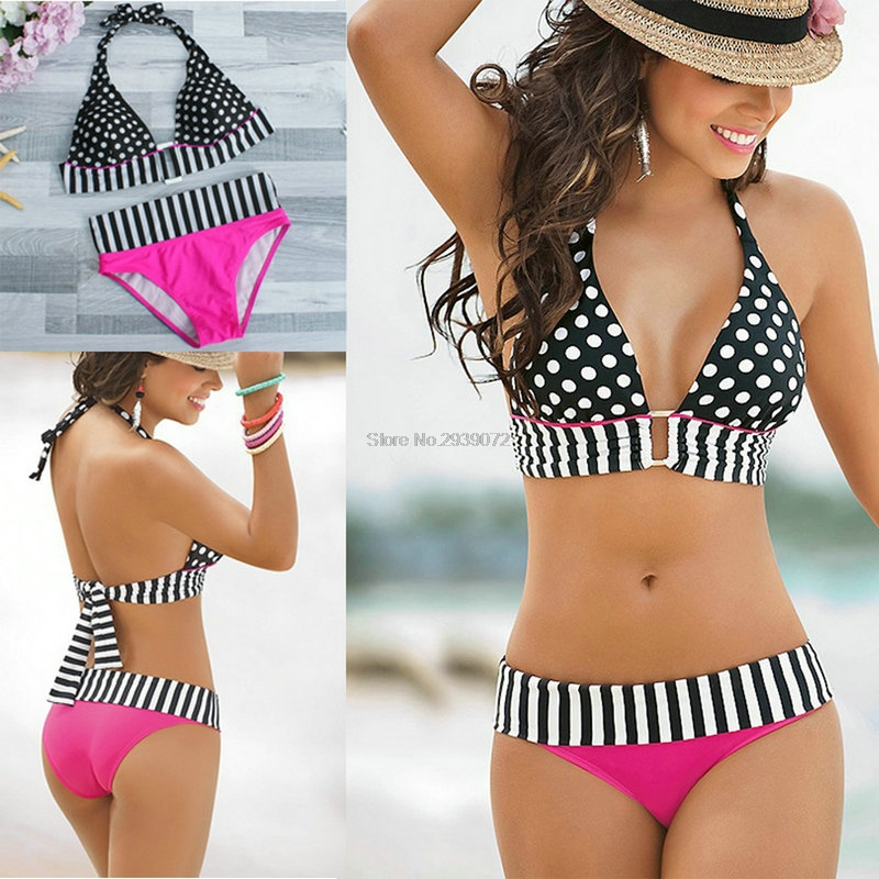2017 Aipbunny New Sexy swimwear women Swimsuits beachwear halter Bikinis Push Up Bikini Set Tankini bathing suit femme monokini