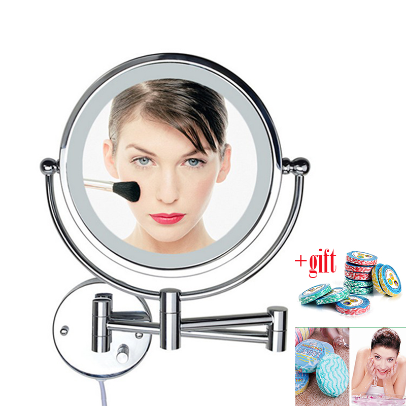 8 Inch LED Light Wall-mounted folding cosmetic mirror 5X Magnifying LED Makeup Mirror bathroom mirror For Gift Free Shipping large 8 inch fashion high definition desktop makeup mirror 2 face metal bathroom mirror 3x magnifying round pin 360 rotating