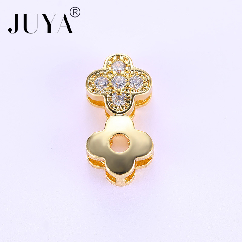 5pcs/10pcs wholesale Copper Metal Zircon Stone Clover Flower Charm Spacer Beads For Jewelry Making DIY Jewellery Findings Part