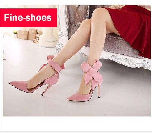Bombas de Zapatos de la boda Las Mujeres Pajarita Grande 2016 Mariposa Sexy Dedo Del Pie puntiagudo Altos Talones del Estilete Del Partido Del Ante Zapatos De Mujer 820