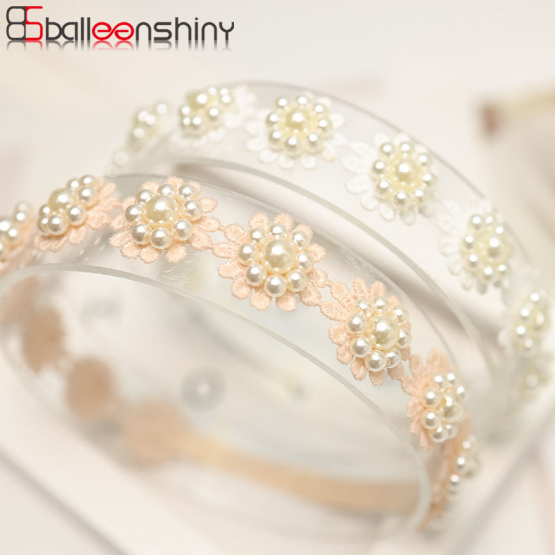 BalleenShiny Korean Children's Hair Accessories Infant Newborn Baby Hair Band Lace Pearl Full Moon Princess Birthday Headdress