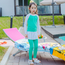 Beach Cover Ups Girls Swimwear Young Girl 2017 New Long Sleeves Swimsuit for Children Two Pieces Suit Green Bathing Suit
