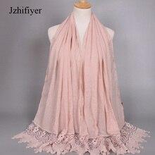Women hijabs High Quality Cotton lace trimming viscose maxi plain scarf muslim bandana poncho feminino inverno shawl