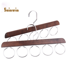 Sainwin 2pcs/lot 35cm Wood silk scarf rack home wool scarf collar with stand wooden hanger multifunctional storage racks