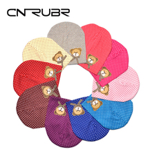 CN-RUBR Cartoon Bear Baby Hat Cute Dot Printed Boys Girls Caps Candy Color Cotton Newborn Hats Kids Cap Clothing Accessories
