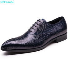 Italian Oxford Shoes For Men Luxury Brand Mens Genuine Leather Black Pointed Toe Crocodile Pattern Dress