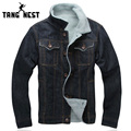 TANGNEST Single Breasted Turn-down Collar Jacket Men Casual Winter Warm Thick Men Denim Jacket Plus Velvet Dark Blue MWJ2165