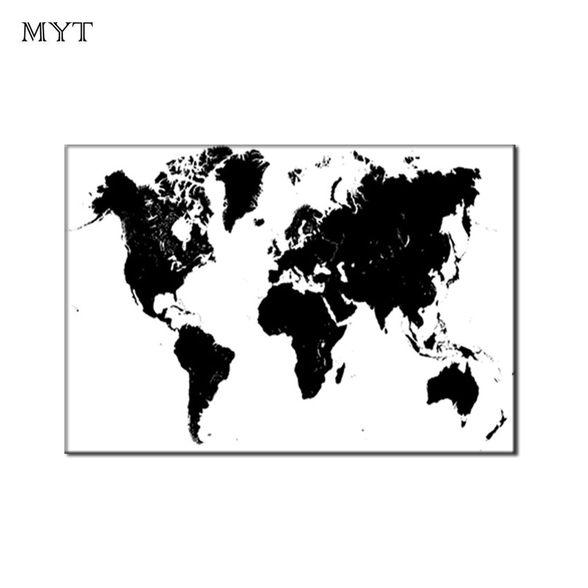 US $18.43 48% OFF|Large Size Abstract Black and White World Map Modern  Painting on Canvas Oil Painting Wall art Picture For Living Room home  decor-in ...