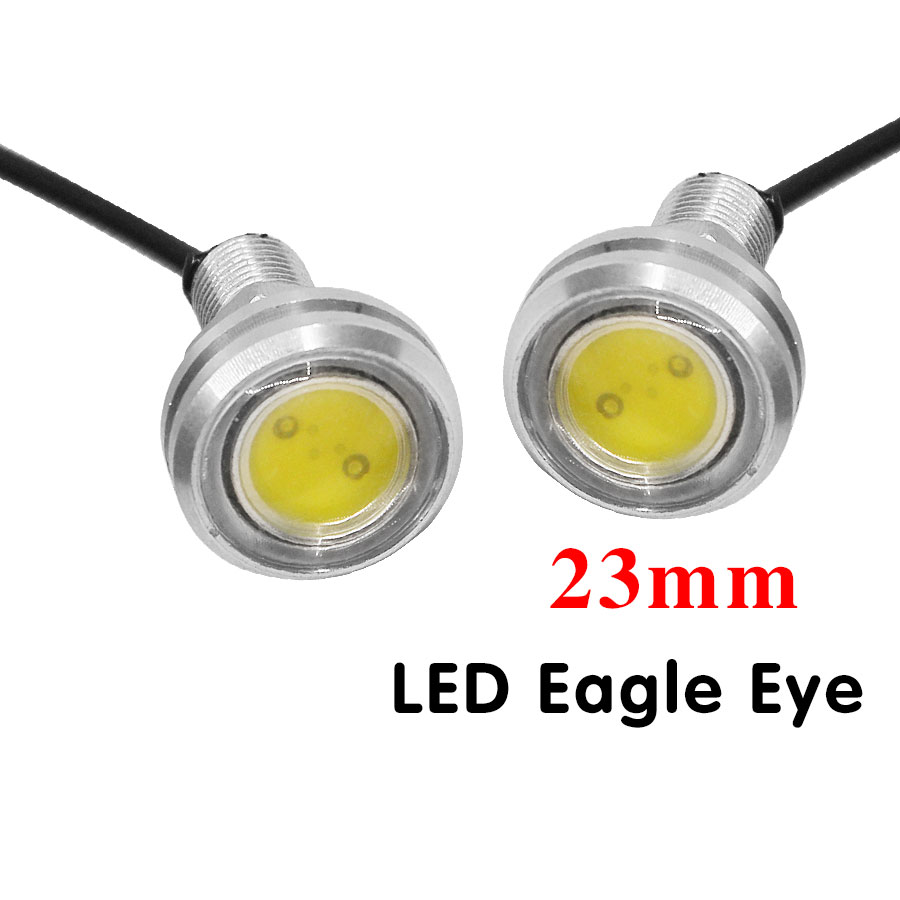 2PCS Parking Light 23mm Eagle Eye Led Car Lights Daytime Running Light DC12V 9W Fog Tail lamp Reverse Lamp Silver Shell geetans newest 10pcs led eagle light eye car fog light drl daytime running lights reverse backup signal parking black silver be