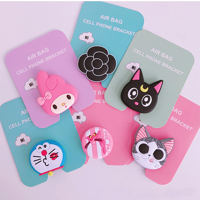 Cartoon Melody Luna Cat Unicorn Phone Air Bag Bracket Stand Finger Holder For IPhone Samsung Mobile Smartphone Stand Holder