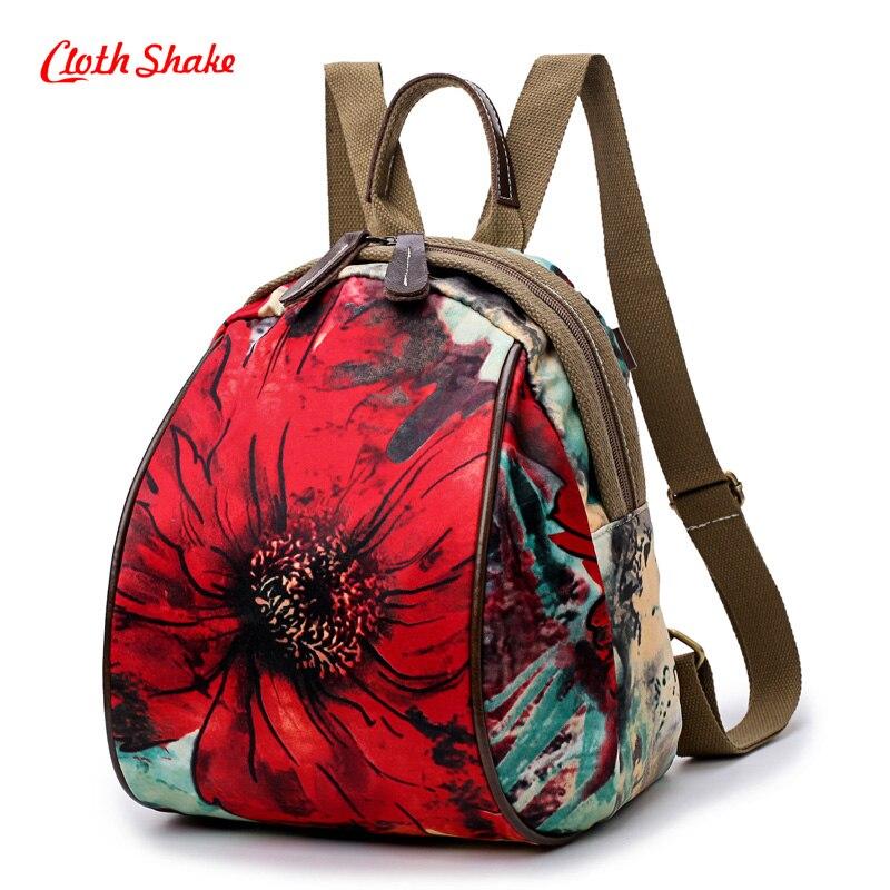Cloth Shake Nylon National Tribal Ethnic Floral Backpacks Women's Travel Rucksack Mochila School Shoulder Bag Sac A Femme Flower