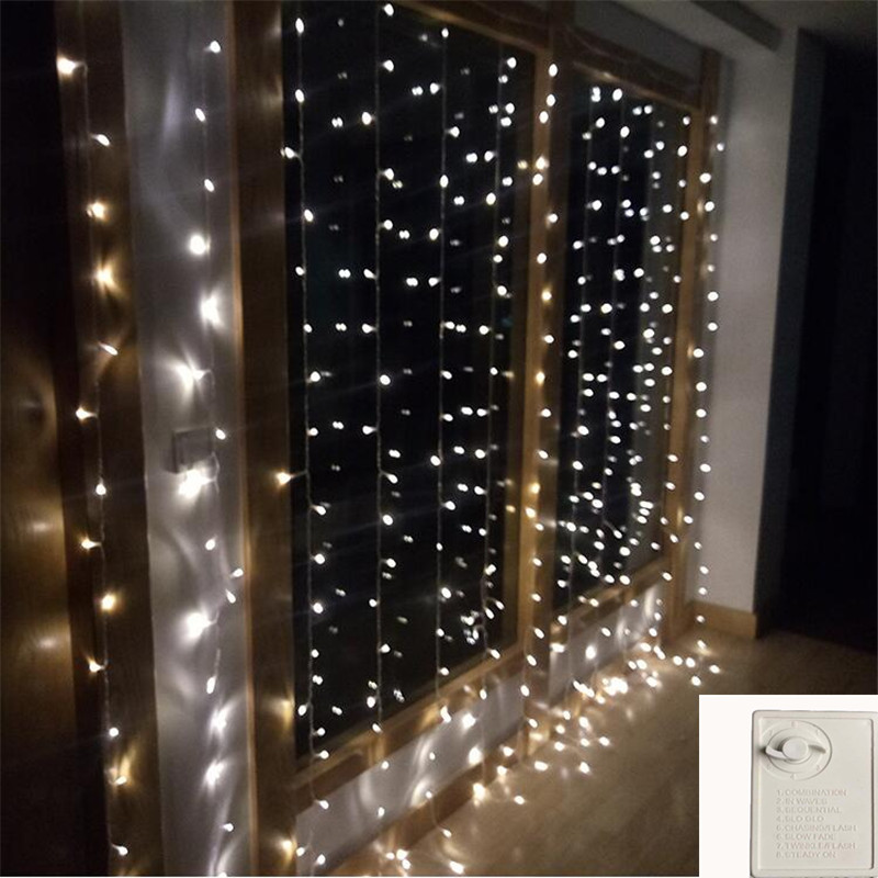 600LEDs 6x3M Curtain Fairy String Lights with Memory Control lights For Christmas Wedding Party Garden Home Decoration