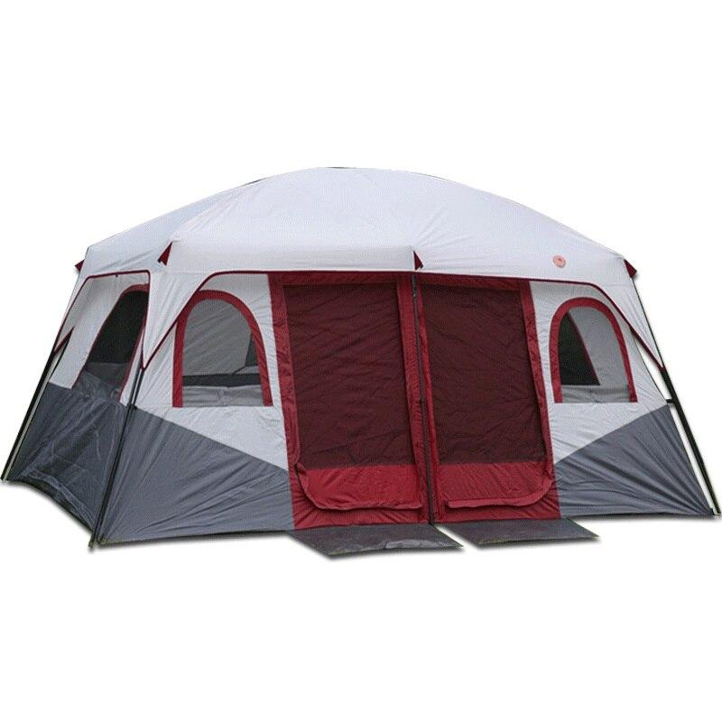 Nouveau modèle 2 chambres haute qualité grand espace 6 8 10 12 Ershiyiting personnes grand voyage en plein air famille camping tente