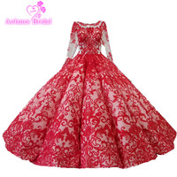 100% Real Photos Robe De Mariage Luxury Bride Dresses 2018 Bridal Gowns Floor Length Lace Beaded Arabic Red Wedding Dresses