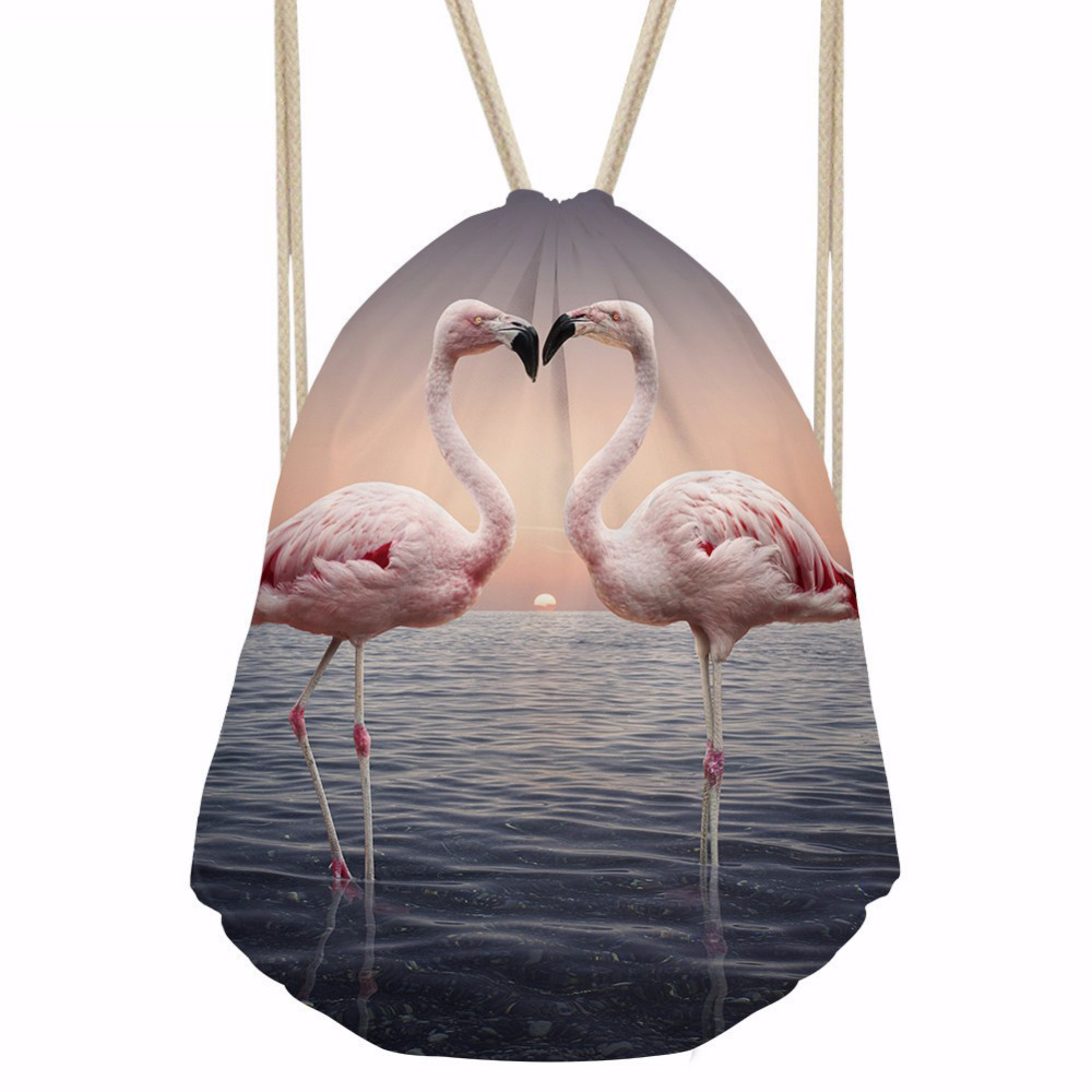 ThiKin Flamingo Printing Women Daily Drawstring Bags Backpack Casual Ladies Shopping Bag Storage Bag Girls Kids