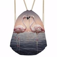 ThiKin Flamingo Printing Women Daily Drawstring Bags Backpack Casual Ladies Shopping Bag Storage Bag Girls Kids School Bags