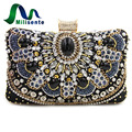 Milisente New Women Luxury Evening Handbag Wedding Clutch Purse Sisters Party Bag Diamonds Silver Gold Black