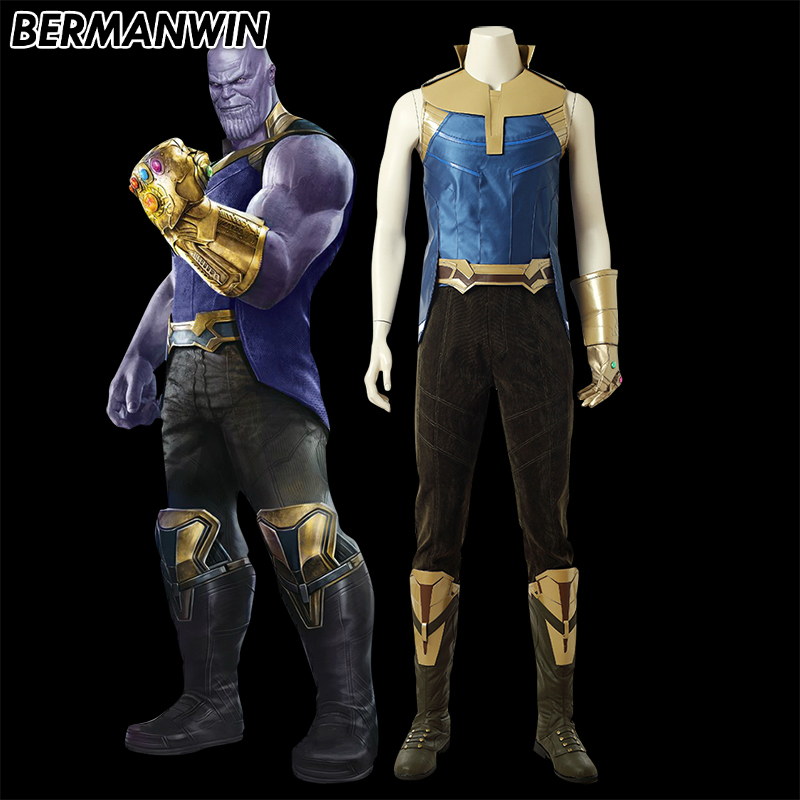 BERMANWIN High Quality 2018 Avengers Infinity War Thanos Costume Adult Men Thanos Halloween Cosplay Costumes Custom Made